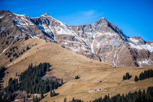 Schweizer Alpen im Winter ohne Schnee